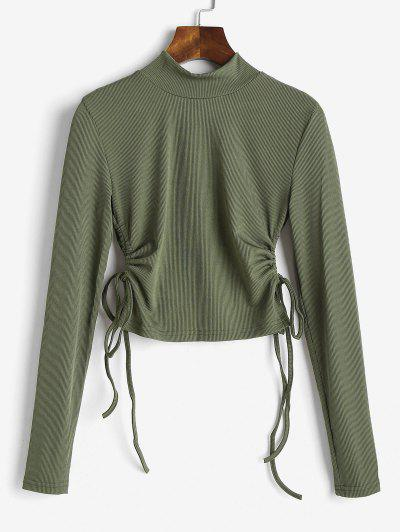 Mock Neck Ribbed Cinched Ruched Top - Deep Green S