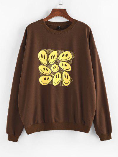 ZAFUL Cartoon Smiling Face Print Drop Shoulder Oversized Sweatshirt - Deep Coffee Xl