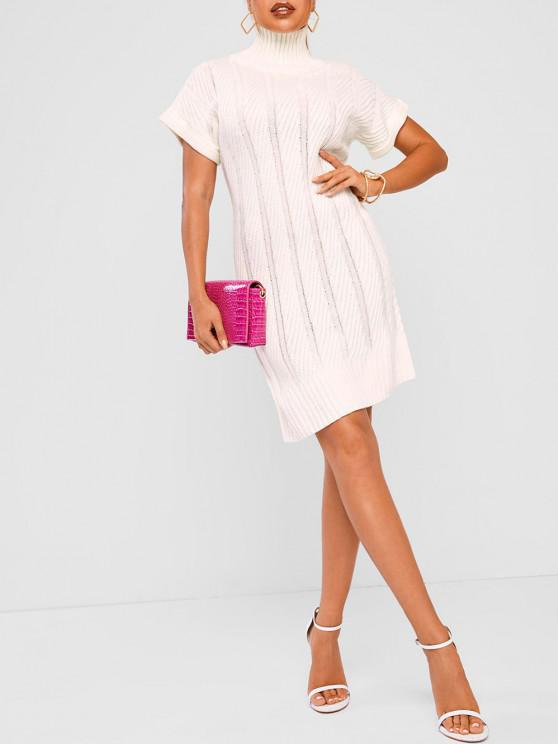 best Funnel Neck Cable Knit Cuffed Jumper Dress - WHITE ONE SIZE