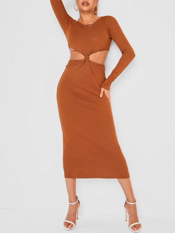 new Twisted Knot Cut Out Jersey Slinky Dress - COFFEE S