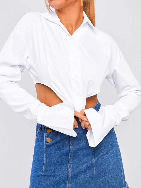 outfit Ruched Sleeve Corset-style Solid Shirt - WHITE S
