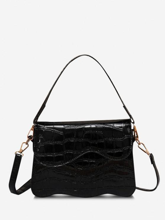 Wellenförmige Kantenabdeckung Crossbody Bag - Schwarz