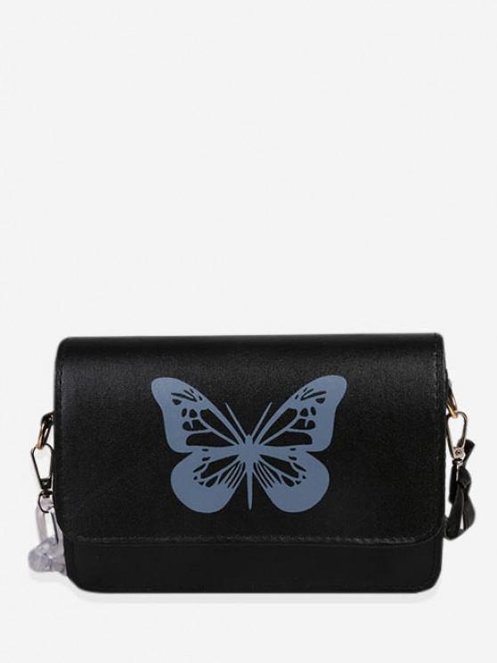 Schmetterlingsdruck Crossbody Bag - Schwarz