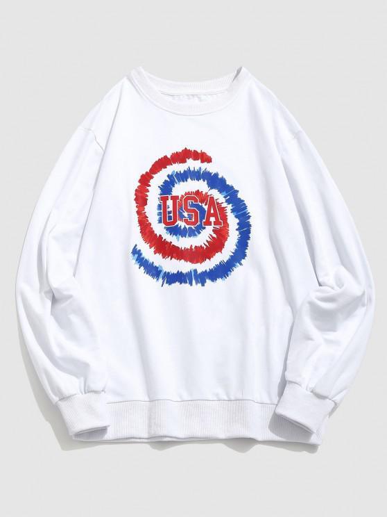 ZAFUL USA Tie Dye Print Graphic Sweatshirt - أبيض XL