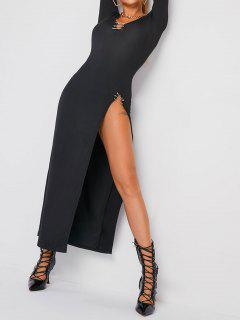Long Sleeve Paper Slip Thigh Slit Plunge Maxi Dress - Black S