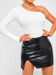 One Shoulder Long Sleeve Bodysuit - White S