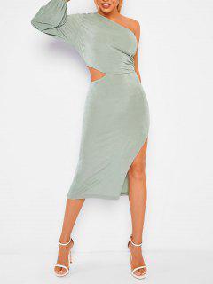 Ruched Cut Out One Shoulder Jersey Slit Dress - Light Green M