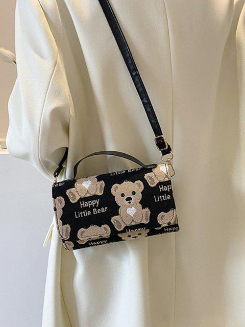 Bear Gedruckte Crossbody-Tasche - Schwarz  Mobile