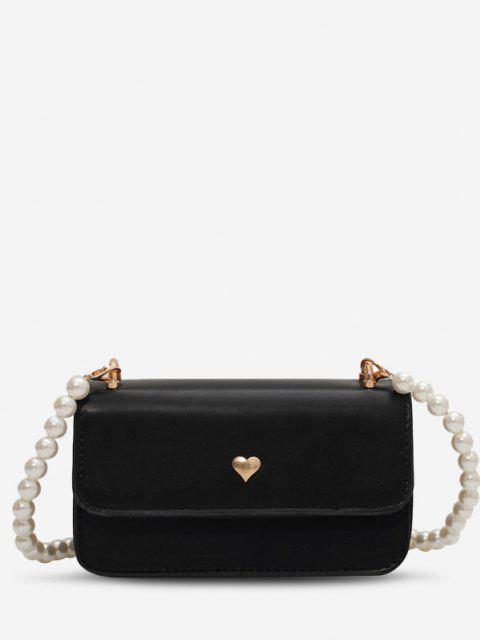 Künstliche Perlen Gurt Herz Umhängetasche - Schwarz  Mobile