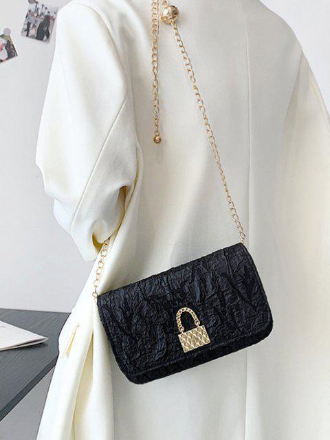 Crinkle Chain Crossbody Bag - Schwarz  Mobile