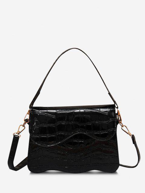 Wellenförmige Kantenabdeckung Crossbody Bag - Schwarz  Mobile