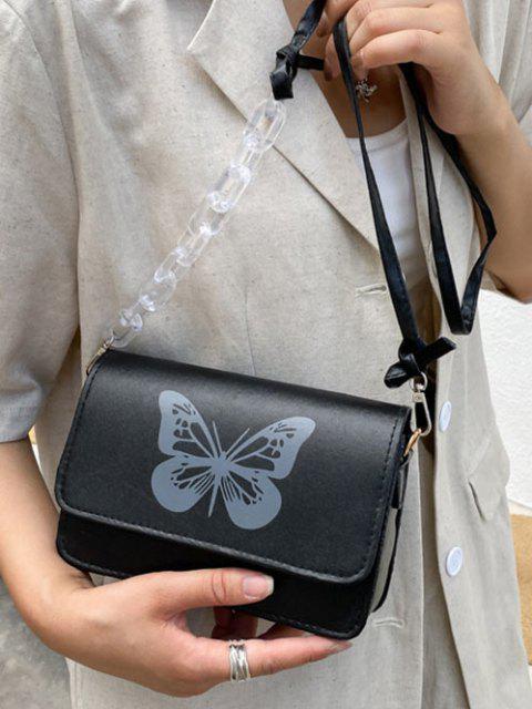 Schmetterlingsdruck Crossbody Bag - Schwarz  Mobile