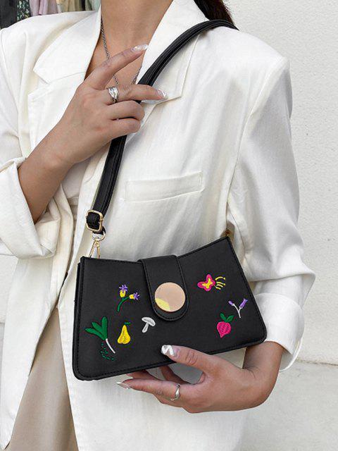 Blumen Schmetterling Stickerei Umhängetasche - Schwarz  Mobile