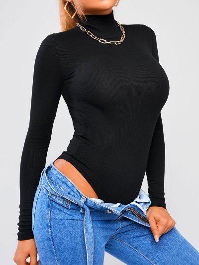 High Neck Ribbed Plain Basic Bodysuit - Black S