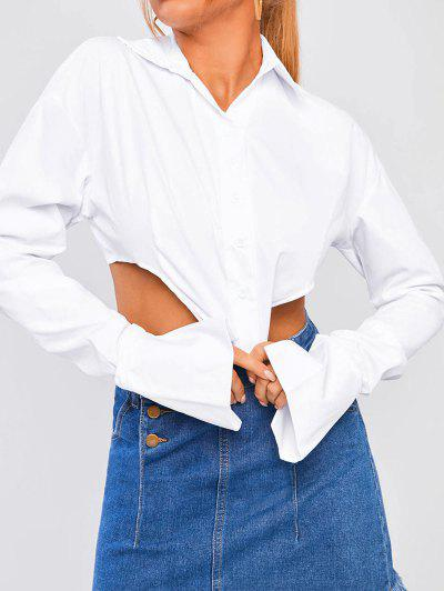 Ruched Sleeve Corset-style Solid Shirt - White M