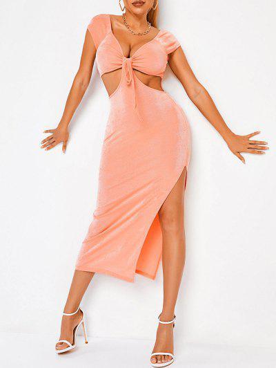ZAFUL Cutout Front Knot High Slit Midi Dress - Light Orange S