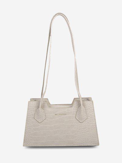 Textured Letter Print Shoulder Bag - Gray