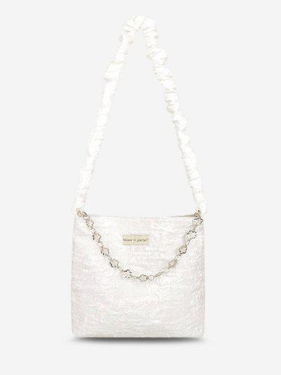 Blumen Kette Knittern Umhängetasche - Weiß