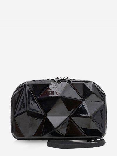 Geometric Hard Textured Mini Bag - Black