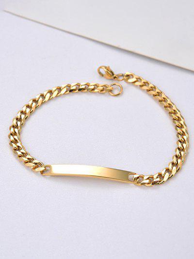 Stainless Steel Chain Bar ID Bracelet - Golden