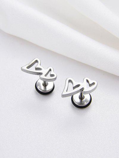 Double Hollow Heart Stud Earrings - Silver