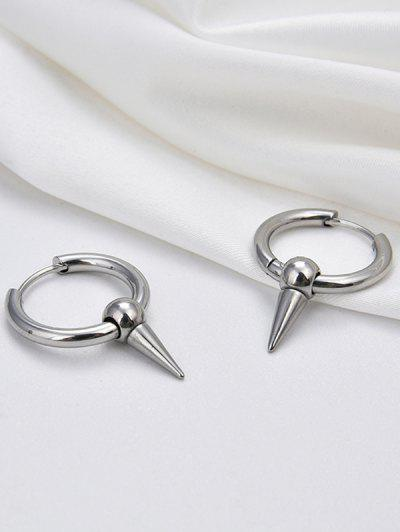 Cone Shape Small Hoop Earrings - Silver