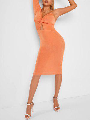 zaful Asymmetric Sleeve Cut Out Twist Solid Midi Dress