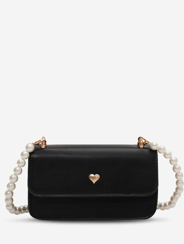 Faux Pearl Strap Heart Shoulder Bag