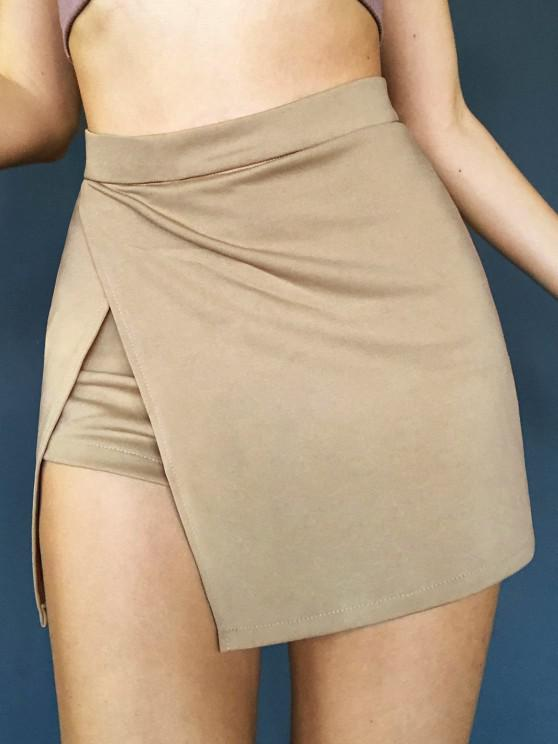 shop Slit Skirt with Shorts Underneath - COFFEE M