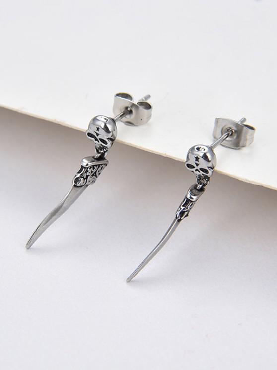 chic Skull Knife Shape Stud Drop Earrings - SILVER