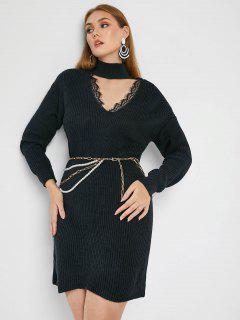 ZAFUL Plus Size Lace Trim Cutout Choker Sweater Dress - Black 3xl