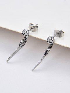 Skull Knife Shape Stud Drop Earrings - Silver