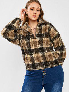 ZAFUL Plus Size Half Zip Plaid Teddy Sweatshirt - Multi 5xl
