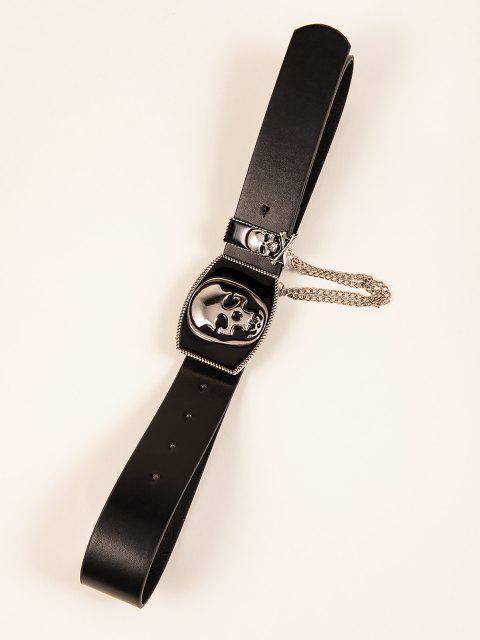 Cinturon de Hebilla de Patrón de Cráneo - Negro  Mobile