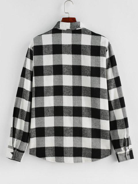 ZAFUL Camisa de Manga Larga de Parche Patrón de Cuadros - Negro L Mobile