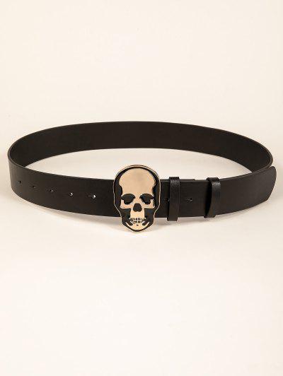 Halloween Skull Pattern Buckle Belt - Black