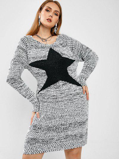 ZAFUL Robe Pull Chinée Etoile Graphique à Grande Taille - Gris Clair 3xl
