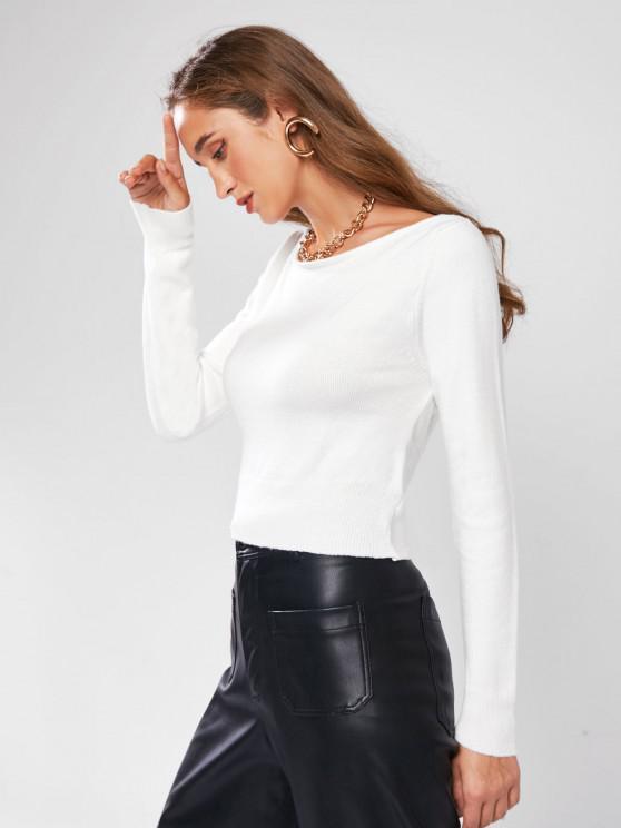 ZAFUL Verdrehter Rückenfreier Crop Pullover - Weiß L