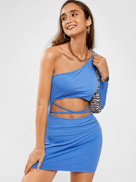 outfit ZAFUL One Shoulder Midriff Flossing Ribbed Slinky Dress - BLUE M