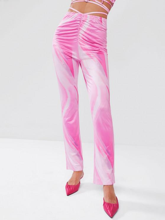 fancy ZAFUL Psychedelic Print Ruched Midriff Flossing Pants - LIGHT PINK S