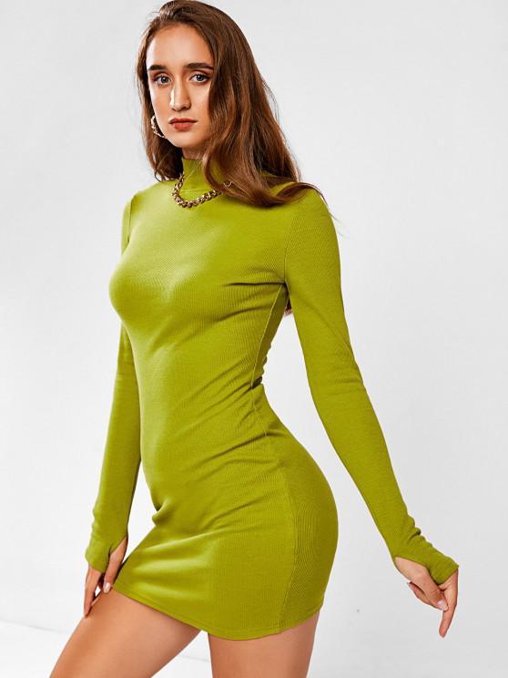 shop High Neck Rib-knit Split Cuffs Long Sleeve Slinky Dress - GREEN M
