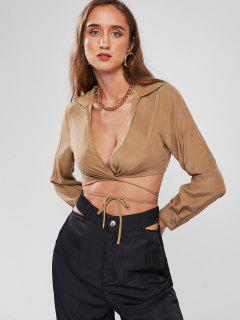 Plunge Midriff Flossing Crop Blouse - Coffee M