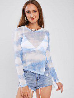 Camiseta De Malla Transparente Del Lado De Tie Dye - Azul Claro