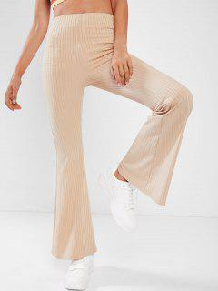 ZAFUL Ribbed High Rise Bell Bottom Pants - Light Coffee S