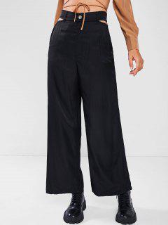 Pantalones Anchos Recortado Ojo De Cerradura - Negro Xl