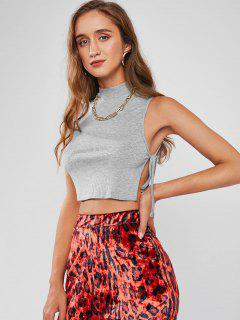 ZAFUL Mock Neck Side Tie Ribbed Cropped Tank Top - Gray M