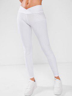 ZAFUL Crossover V-waist Textured Scrunch Butt Leggings - White L