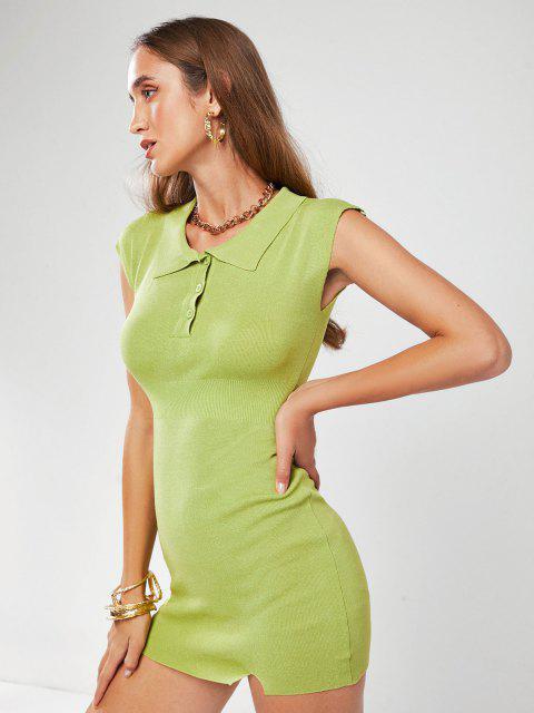 Henley Strickkleid mit Elastischer Taille - Hellgrün Eine Größe Mobile