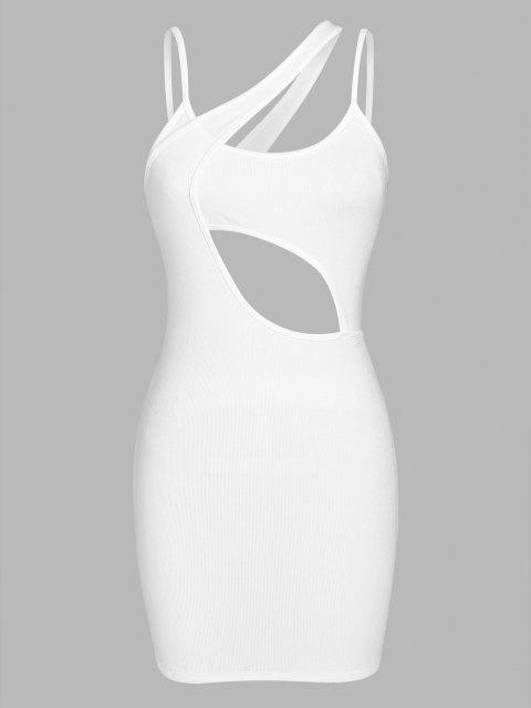 ZAFUL Asymmetrisches Bodycon Kleid mit Geripptem Ausschnitt - Weiß S Mobile