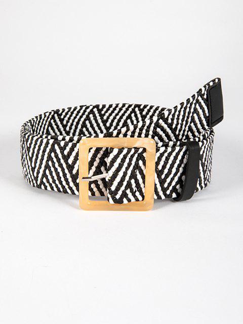 Bicolor Geometrische Gewebte Schnalle Gürtel - Schwarz  Mobile